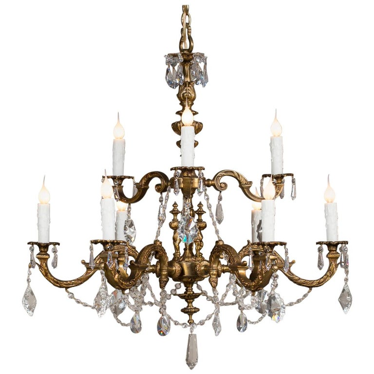 Antique French Louis XVI Style Bronze Crystal Two-Tier Chandelier, circa 1890 For Sale