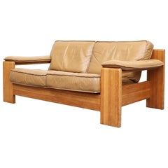 Leolux Wood Framed Leather Loveseat