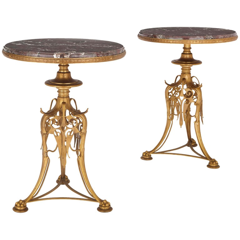 Two 19th Century Gilt Bronze and Marble Round Tables by Barbedienne For Sale