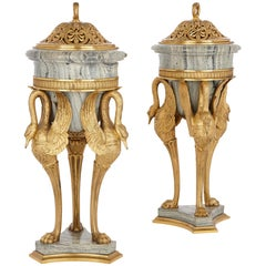 Two Antique Empire Style Marble and Gilt Bronze Vases