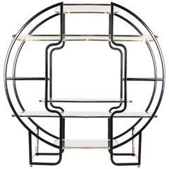Hollywood Regency Circular Étagère in Brass and Black from France