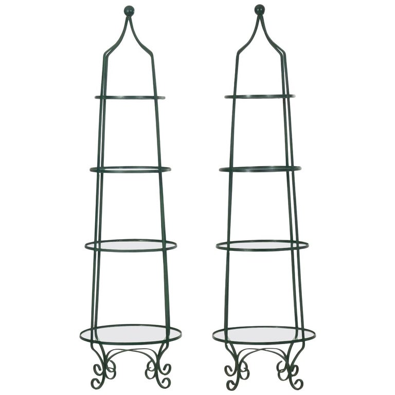 Pair of Vintage Green Painted Iron Etageres Displays with Glass Shelves For Sale