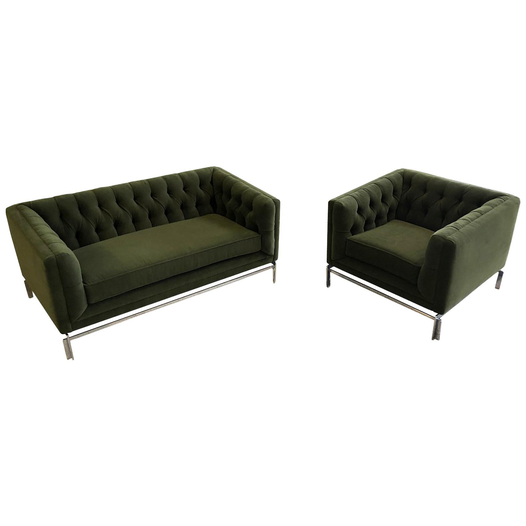 Midcentury Knoll-Style Tufted Settee and Club Chair Set