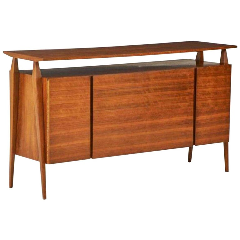 Fine MCM Gio Ponti Figured Walnut Cabinet Credenza Having Manufacturer Label For Sale