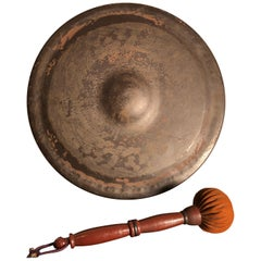 Japanese Big Antique Hand Cast Bronze Garden Gong Soothing Deep Sound