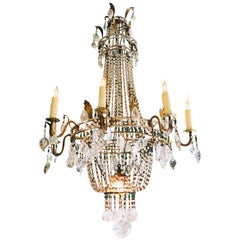 18th C. Italian Rock Crystal 8-Light Chandelier hanging Ceiling pendant light LA