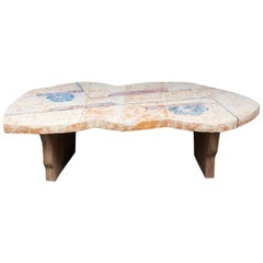 Unique Coffee Table by Jean-Pierre Viot with Ceramic Top and Wood Base, 2017