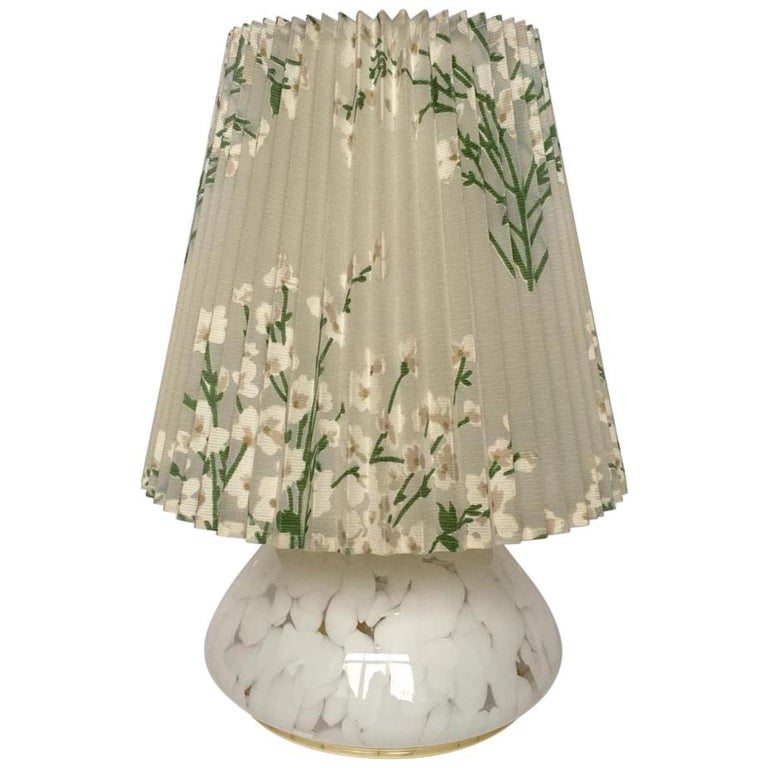 Vintage Large Art Glass Table Lamp with Luminous Base For Sale