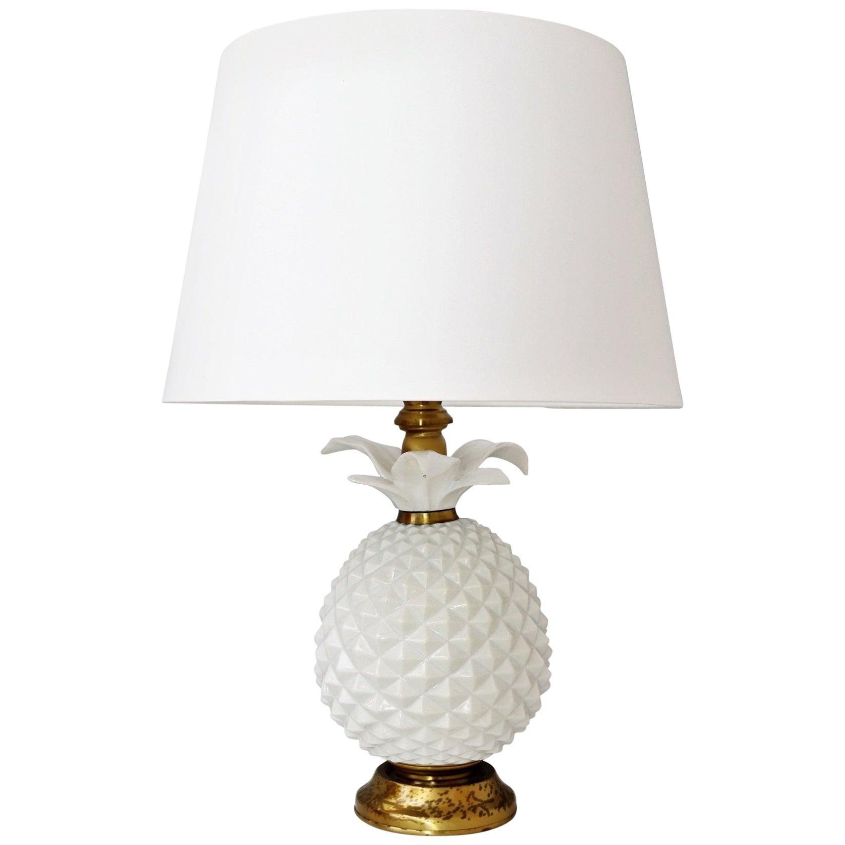 Italian Brass and Ceramic Pineapple Table Lamp, 1970s