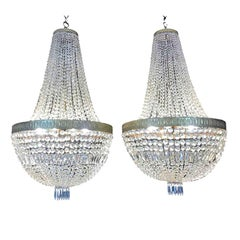 Pair of Large Italian Crystal Basket Chandeliers Empire Style 20th Century