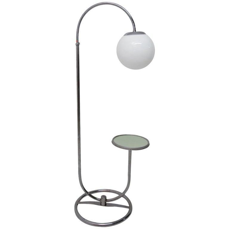 Bauhaus Chromed Floor Lamp by Robert Slezak, 1930s, Bohemia For Sale