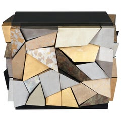 "A Paul Evans ""City Scape"" Inspired Two Door Gilded Cabinet"