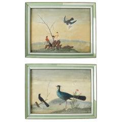 Chinese Export Oil Paintings of Birds in Glass Veneer Frames, 19th Century