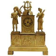 19th Century Empire Gilded Bronze Ormolu French Pendule Mantel Clock