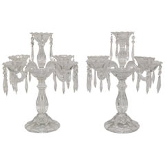 Pair of Heavy Waterford Style Candelabra