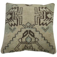 White Turkish Geometric Rug Pillow