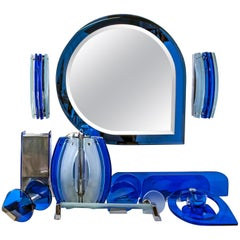 Fontana Arte Mid-Century Modern Bathroom Set with Mirror and Lights, 1960s