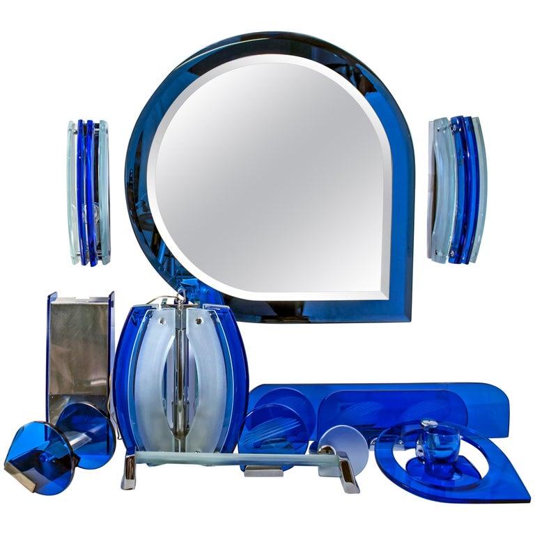 Fontana Arte Mid-Century Modern Bathroom Set with Mirror and Lights, 1960s For Sale