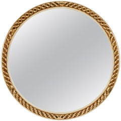 Mid-20th Century Circular Carved Gilt and Painted Mirror