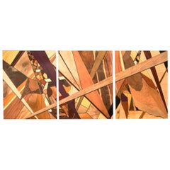 Highly Colorful Exotic Wood Abstract Mosaic Triptych Wall Art