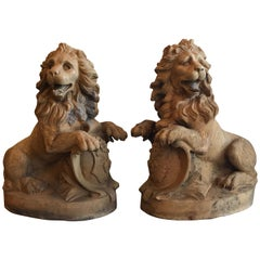 Pair of 19th Century Terracotta Seated Lions