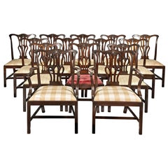 Fourteen George III Chippendale Mahogany Dining Chairs