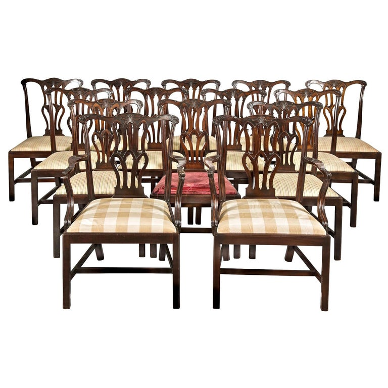Fourteen George III Chippendale Mahogany Dining Chairs For Sale