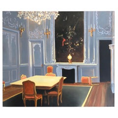 Very Large Striking Painting of French Chateau Interior