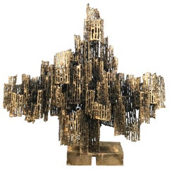 Large Torch Cut Brutalist Sculptural Metal Candelabra by Marcello Fantoni