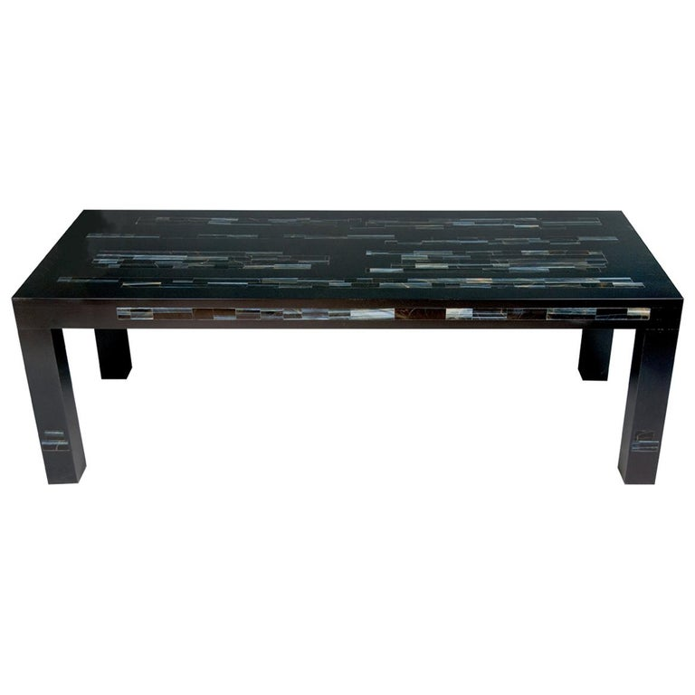 A  Black Parson's Style Coffee Table With Inlaid Genuine Blue Tiger Eye Stone For Sale