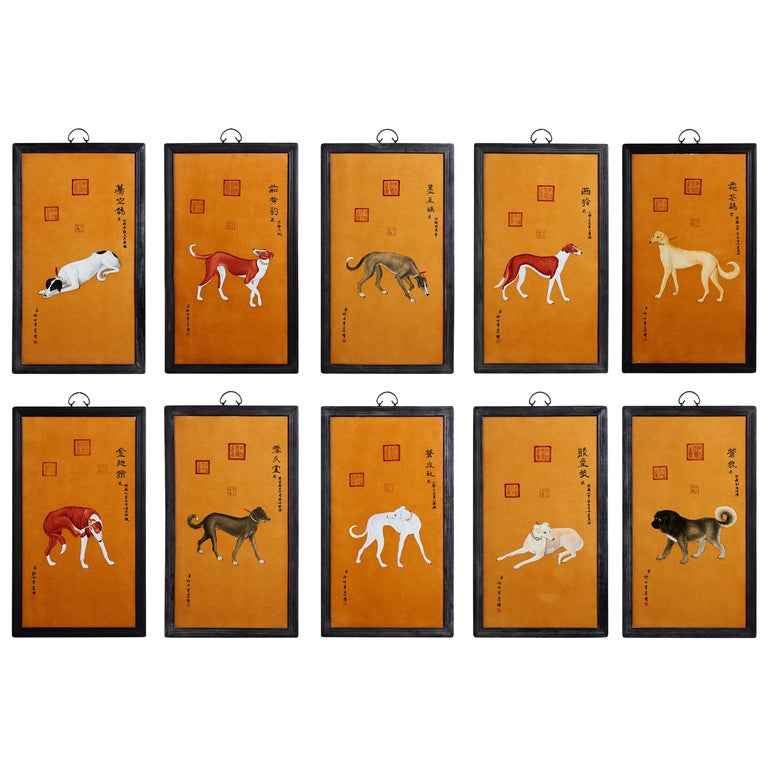 Satz von zehn Qing-Stil Porzellanteller nach Lang Shining 1
