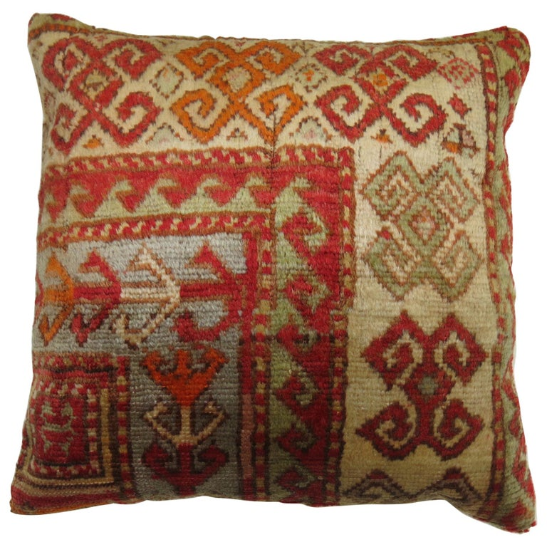 Antique Turkish Sivas Rug Pillow For Sale