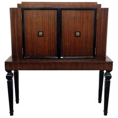 French Ruhlman Style Ebonized Art Deco Rosewood Liquor Bar Cabinet