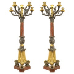 Pair of French Empire Bronze and Rouge Marble Candelabras