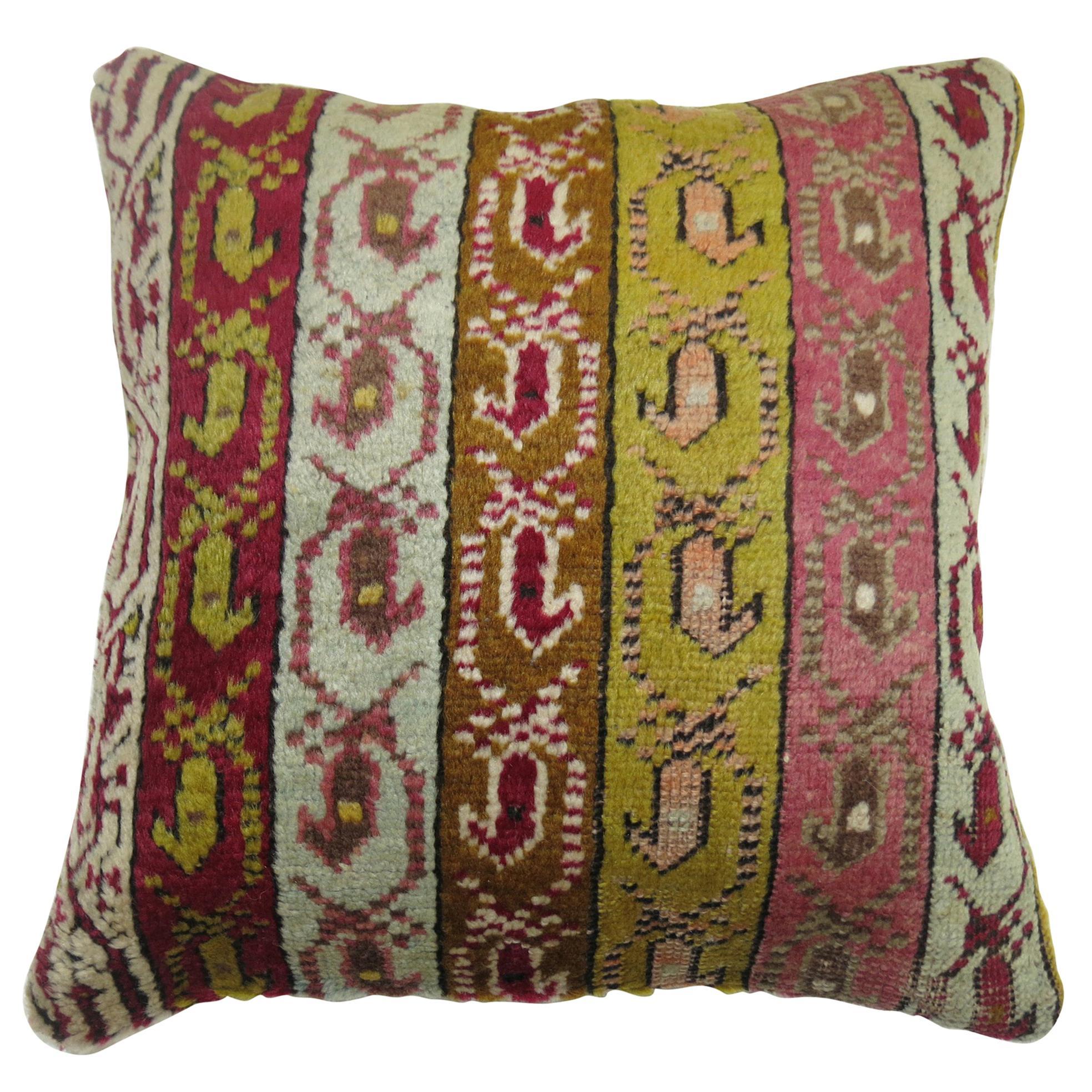 Turkish Ghiordes Rug Pillow
