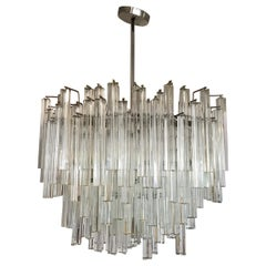 Signed Camer Glass Midcentury Venini Italy Monumental Waterfall Chandelier