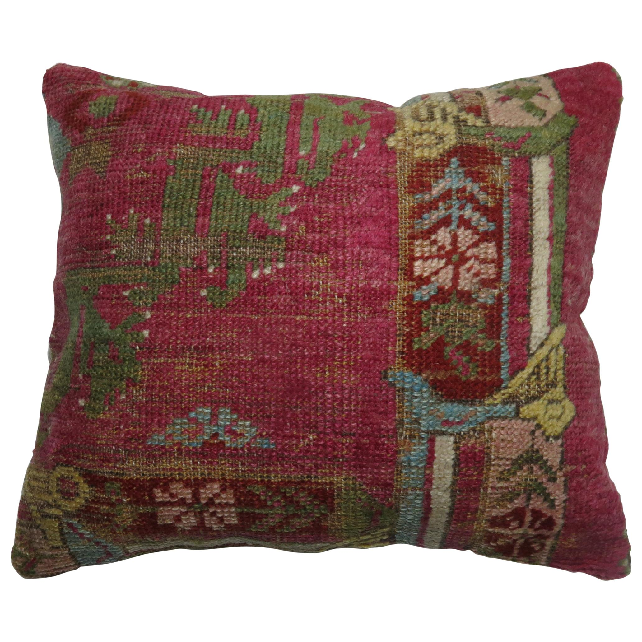 19th Century Turkish Ghiordes Rug Remnant Pillow
