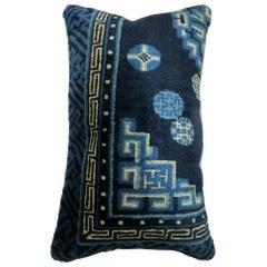 Blue Chinese Bolster Rug Pillow