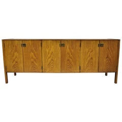 Vintage Mid-Century Modern Oak Credenza Cabinet Long Buffet after James Mont