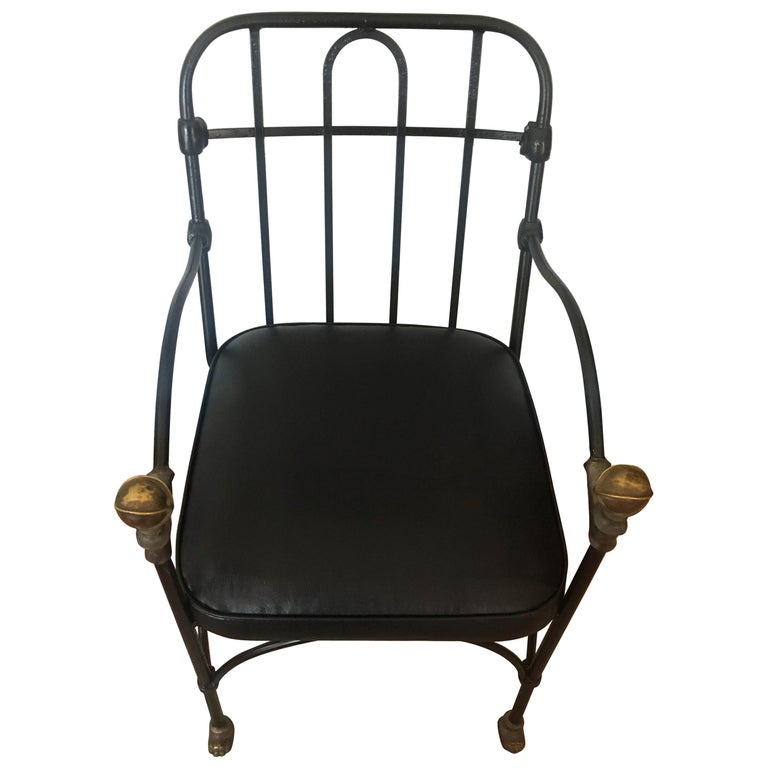 Wrought Iron Chair with Bronze Ball Detail After Giacometti For Sale