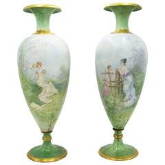 Paar französische viktorianischen grüne Limoges Vasen