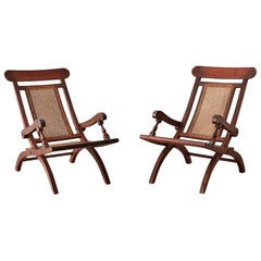 Pair of Mahogany Campaign Style Folding Plantation Chairs