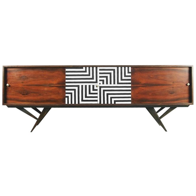 Mid-Century Modern Rosewood Organic Sideboard with Labyrinth Pattern, 1960s For Sale