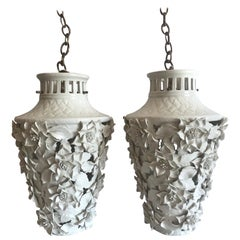1960s Italian Hollywood Regency Ceramic Floral Pendant Lights