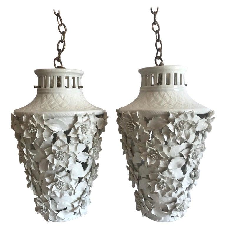1960s Italian Hollywood Regency Ceramic Floral Pendant Lights For Sale