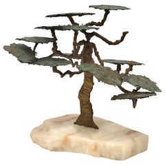 1970s Bronze Abstract Tree Brutalist Table Sculpture on Raw Marble Base
