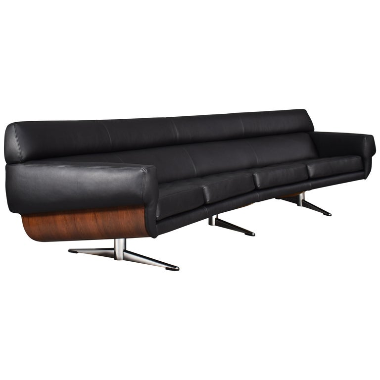Large Curved Sofa in Rosewood and Leather by Martin Stoll, Germany, circa  1960
