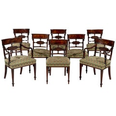 Fine Set of Eight George III Sheraton Period 18th Century Carved Mahogany Dining