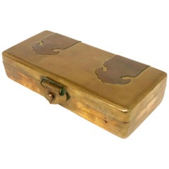 Hollywood Regency Patinated Brass and Copper Jewelry Box Made in Hong Kong