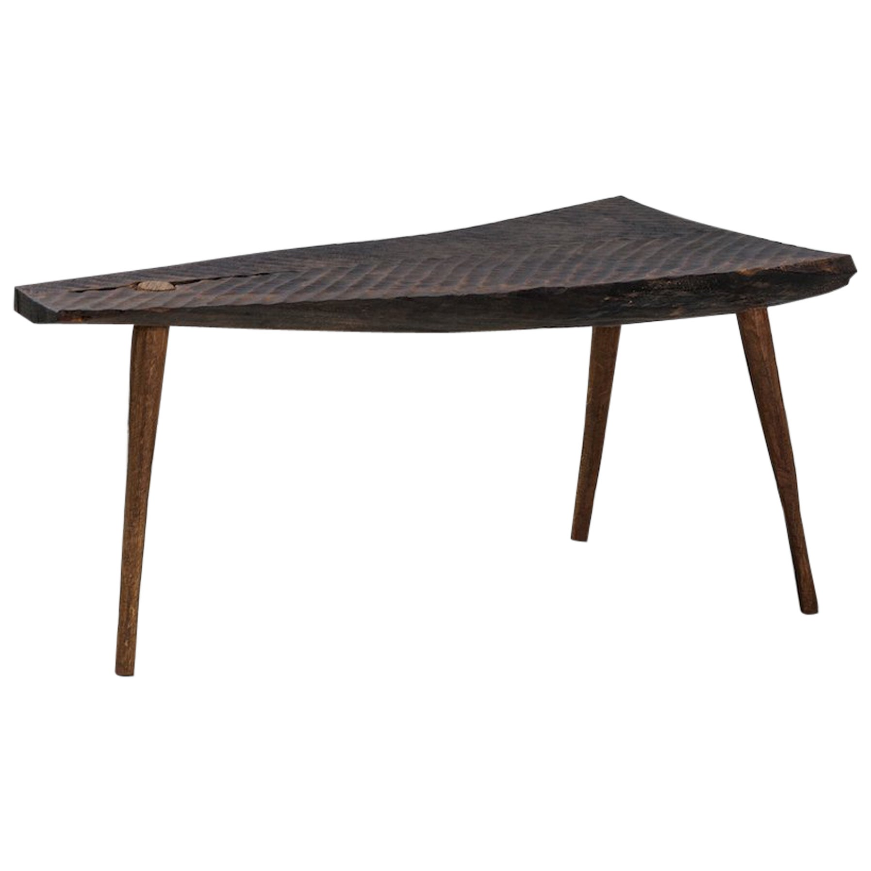 Contemporary Brutalist Style Small Table #3 in Solid Oak and Linseed Oil